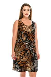 Knee length tank dress - brown/grey print - polyester/spandex