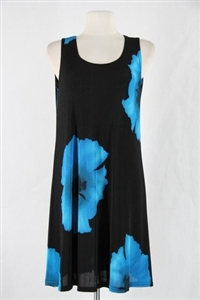 Knee length tank dress - blue big flower -  polyester/spandex