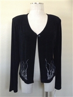 long sleeve jacket with button in black with rhinestones - acetate/spandex