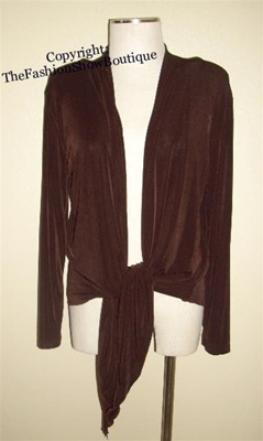 long sleeve tie jacket - brown - acetate/spandex