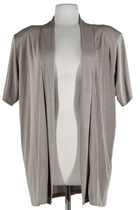 Short sleeve taupe jacket - polyester/spandex