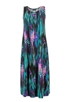 Long tank dress - teal tiger - polyester/spandex