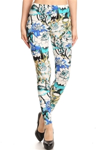 Leggings -  blue/white floral