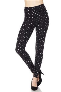 Leggings -  black/white polka dots