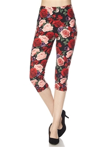 Capri leggings -  red & pink roses