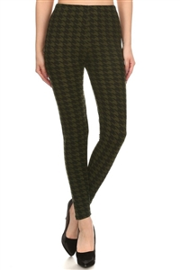 Leggings - black/green houndstooth - polyester/spandex