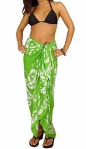 Sarong - Yellow-Green Hibiscus - Rayon