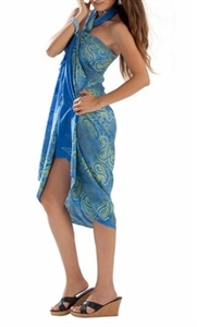 Sarong - Light Blue/Lime Paisley - Rayon