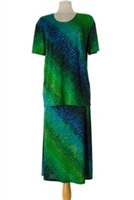 Short sleeve top and skirt - green tie dye - polyester/spandex