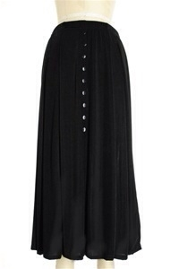 Button skirt - black - polyester/spandex