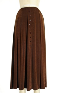 Button skirt - brown - polyester/spandex