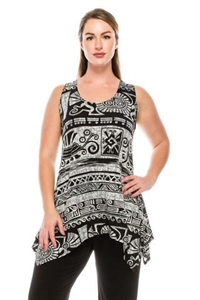 Two point tank top - black/white Aztec print - polyester/spandex