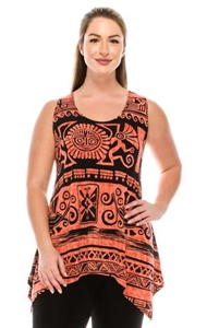 Two point tank top - rust Aztec print - polyester/spandex