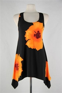 Two point tank top - orange big flower - polyester/spandex