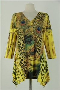 3/4 sleeve 2 point top - yellow leopard / peacock feathers - polyester/spandex