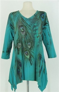 3/4 sleeve 2 point top - jade peacock feathers - polyester/spandex