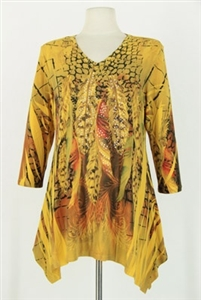 3/4 sleeve 2 point top - gold peacock feathers - polyester/spandex