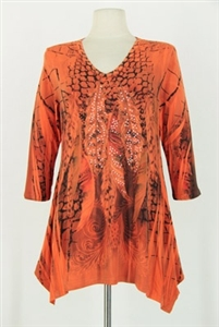 3/4 sleeve 2 point top - orange peacock feathers - polyester/spandex