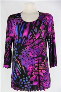3/4 sleeve top with lettuce finish - blue/purple print - polyester/spandex