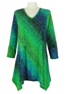 3/4 sleeve 2 point top - green tie dye - polyester/spandex