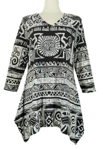 3/4 sleeve 2 point top - black/grey aztec - polyester/spandex
