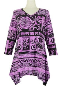 3/4 sleeve 2 point top - purple aztec - polyester/spandex