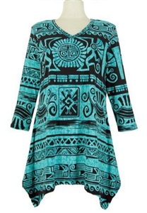 3/4 sleeve 2 point top - teal aztec - polyester/spandex