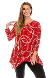 3/4 sleeve 2 point top - gold rings on red - polyester/spandex