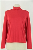 Long sleeve turtle neck top - red - polyester/spandex