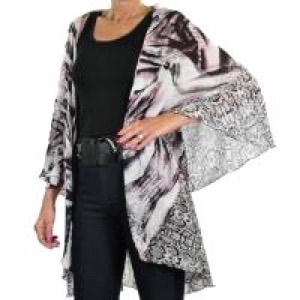 Chiffon vest - purple accented mixed animal print - polyester