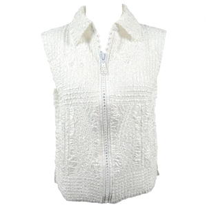 Crinkly vest with rhinestone zipper - white