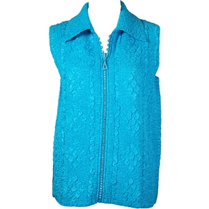 Crinkly vest with rhinestone zipper - aqua