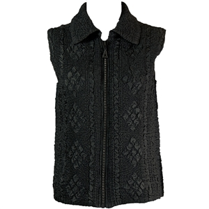 Crinkly vest with rhinestone zipper - black