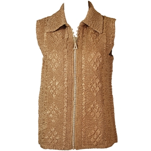 Crinkly vest with rhinestone zipper - bronze