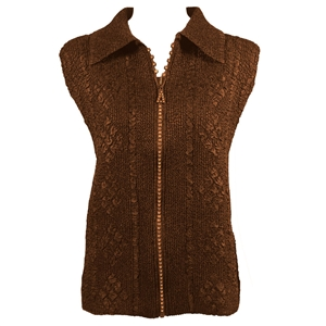 Crinkly vest with rhinestone zipper - brown