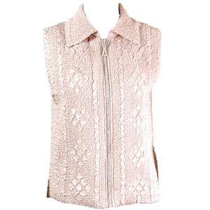 Crinkly vest with rhinestone zipper - champagne