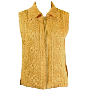 Crinkly vest with rhinestone zipper - gold