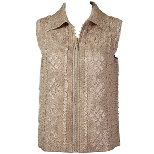 Crinkly vest with rhinestone zipper - tan