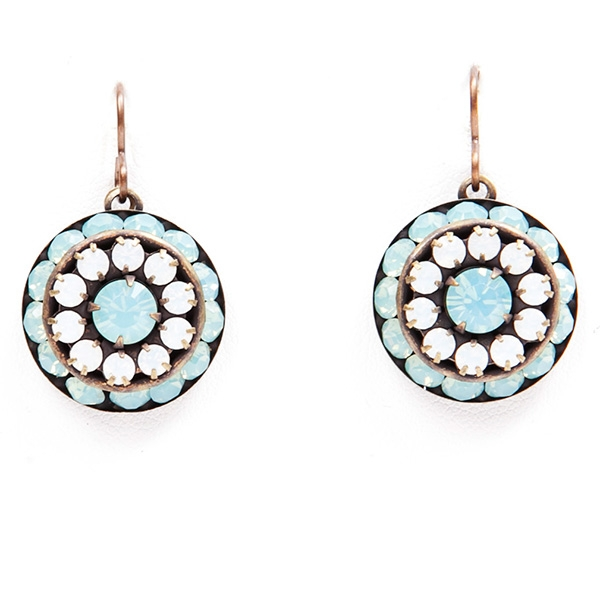 "Aqua blue and white crystal Love Drop earrings that are sure to get noticed. 1.4"" drop."