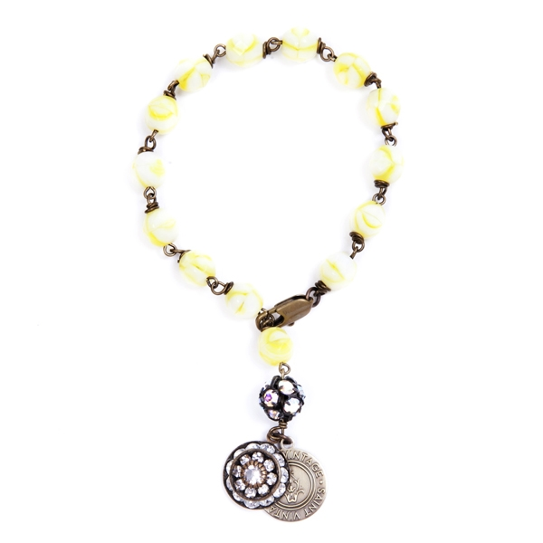 "We have created this yellow Czech glass beaded bracelet in honor of Sarcoma Cancer Awareness month. Only available for the month of July. Bracelet is approximately 7"". 50% of sales will be donated back to Stand Up 2 Cancer! #jewelryforacause #findacure"