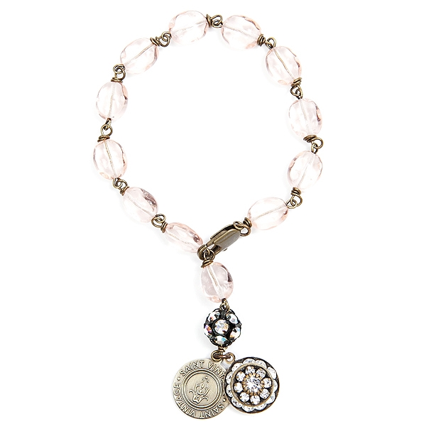 "We have created this pastel pink Czech glass beaded bracelet in support of Breast Cancer Awareness month.  Only available for the month of October.  Bracelet is approximately 7"" in length. 50% of sales will be donated back to Stand Up 2 Cancer! #thinkpink"