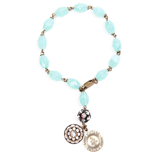 "We have created this aquamarine czech glass beaded bracelet in honor of Cervical Cancer Awareness month. 7"". Only available for the month of January. #jewelryforacause #findacure"