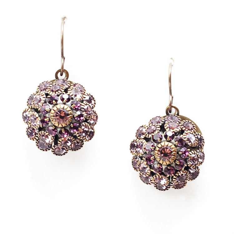 "Beautiful amethyst crystal Love Drop earrings that are sure to get noticed. 1.4"" drop."