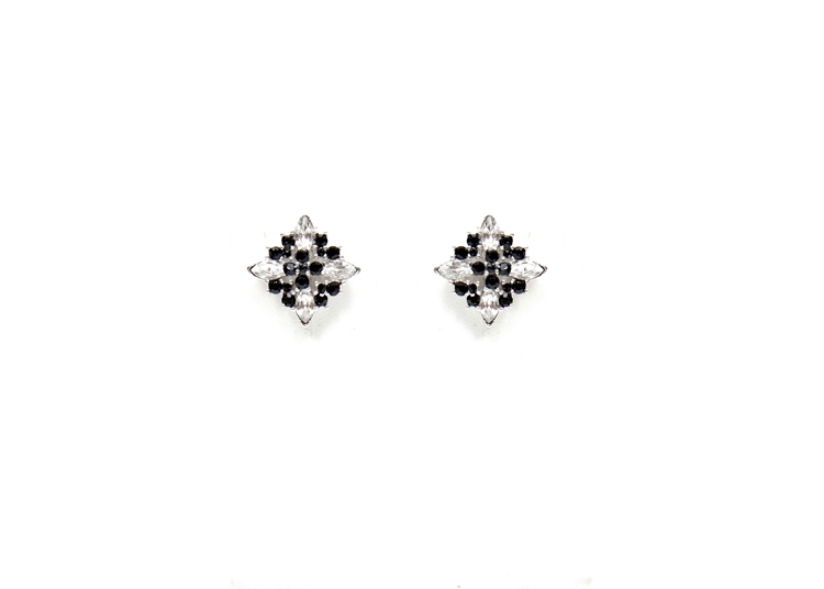 The striking contrast of clear and black crystal are used to update our antique inspired earrings. Post earrings for pierced ears.  Perfect to wear from day into night!