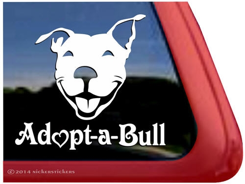 Adopt A Bull Smiling Pit Bull Dog Decals Amp Stickers