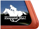 Galloping Female Rider Horse Trailer Window Decal