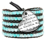Vesta Mother's Heart Aquamarine Blue Wrap Bracelet