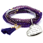 Vesta Mother's Heart Ametista Tassel Bracelet
