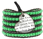 Vesta Mother's Heart Emerald Green Wrap Bracelet