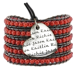 Vesta Mother's Heart Garnet Red Wrap Bracelet